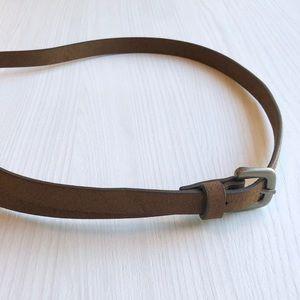 Vintage Dark Brown Leather Skinny Belt